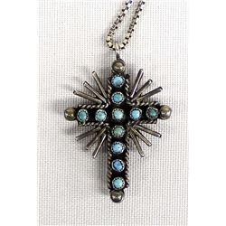 Zuni Sterling Cross Pendant Necklace