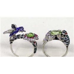 2 Whimsical Rhinestone Rings
