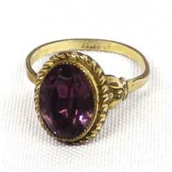 12 Carat Gold Filled Amethyst Ring, Size 11.5