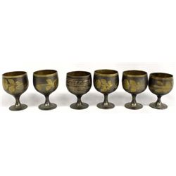 Set of 6 East India Brass Aperitif Goblets