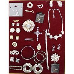 Vintage Estate Rhinestone Jewelry, Some Sterling