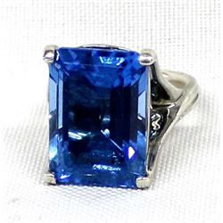 Sterling Silver Faceted Blue Stone Ring, Size 6.5