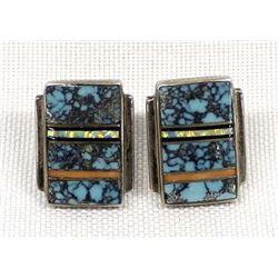 Navajo Sterling Inlay Earrings by J. Charley