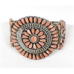 Navajo Sterling & Pink Shell Cluster Bracelet