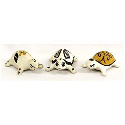 3 Acoma Painted Ceramic Pottery Turtles