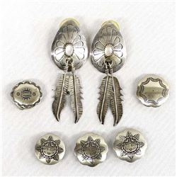 Navajo Sterling Silver Earrings & Button Covers
