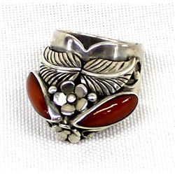 Navajo Sterling Coral Ring, Size 5.5