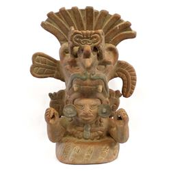 Large Mexican Pottery Mayan God Replica