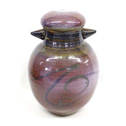 Unusual Lidded Stoneware Pottery Jar