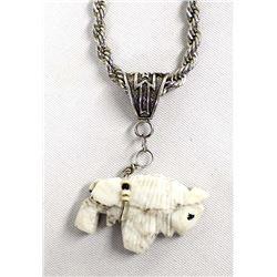 Navajo Sterling Howlite Buffalo Fetish Necklace
