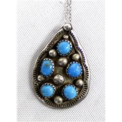 Navajo Sterling Turqoise Pendant Necklace