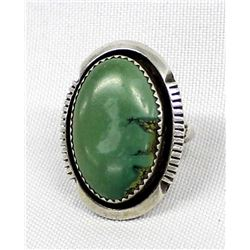 Native American Sterling Turquoise Ring, Size 6.5