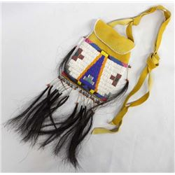 Native American Plains Indian Beaded Leather Bag