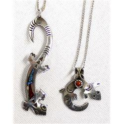 2 Native American Navajo Sterling Necklaces