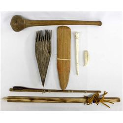 7 Pieces of Native American Wood & Bone Tools