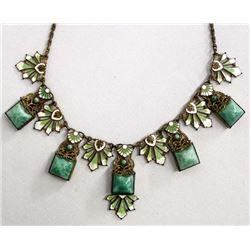 Antique Enamel, Copper, Peking Glass Necklace