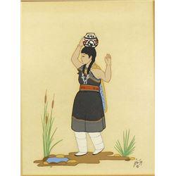 Zuni Serigraph Print by Percy Sandy ''Kai-Sa''