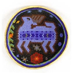 Mexican Huichol Beaded Gourd Bowl