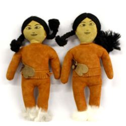 2 Native American Suede Leather Dolls