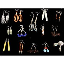 13 Pairs Native American Earrings, Some Sterling