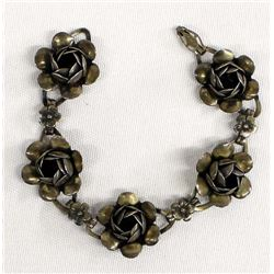 Vintage Coro Sterling Silver Rose Link Bracelet