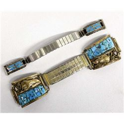 2 Native American Stering Turquoise Watch Bands