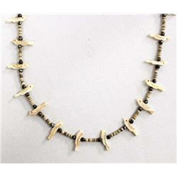Navajo Bird Fetish and Shell Heishi Necklace