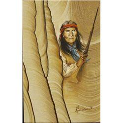 Original Geronimo Painting on Sandstone, Carlson