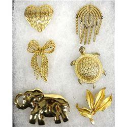 6 Estate Costume Jewelry Pins