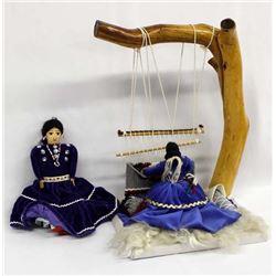 Large Navajo Weaver Doll and 1 Navajo Cloth Doll