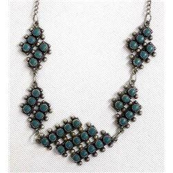 Vintage Zuni Sterling Turquoise Necklace