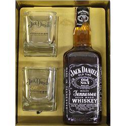 Vintage Jack Daniel's Lidded Tin, Glasses, & Old No. 7