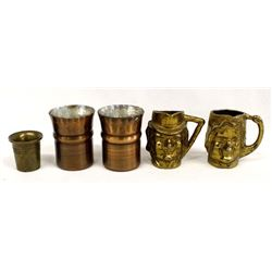 5 Copper and Brass Shot Glasses