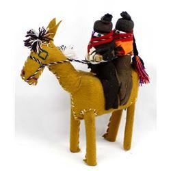 Folk Art Horse and 2 Riders