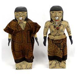 2 Shipibo Carved Wood Dolls