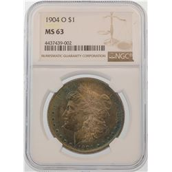 1904-O $1 Morgan Silver Dollar Coin NGC MS63 AMAZING TONING