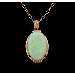 14KT Rose Gold 12.92 ctw Opal and Diamond Pendant With Chain
