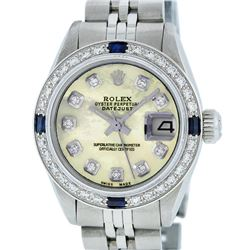 Rolex Ladies Stainless Steel Yellow MOP Diamond & Sapphire Datejust Wristwatch