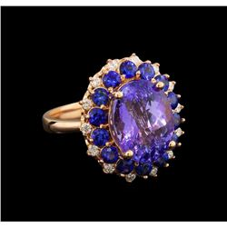 14KT Rose Gold 5.94 ctw Tanzanite, Sapphire and Diamond Ring