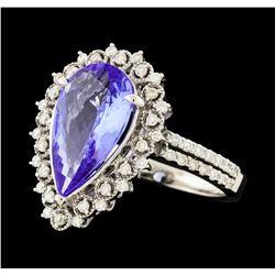3.45 ctw Tanzanite and Diamond Ring - 14KT White Gold