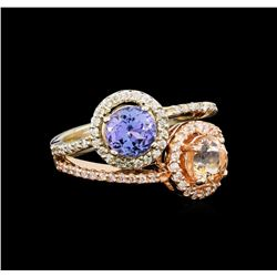 14KT Two-Tone Gold 1.04 ctw Tanzanite, Morganite and Diamond Ring