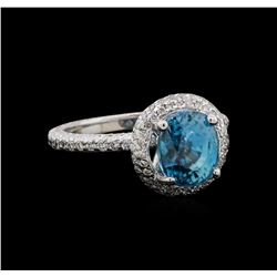 4.23 ctw Blue Zircon and Diamond Ring - 14KT White Gold