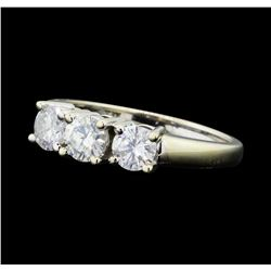 1.00 ctw Diamond Three Stone Ring - 14KT White Gold