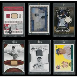 Baseball Hall of Famer and Superstar Game Used Bat and Jersey Card Collection (6) with Mantle and Te