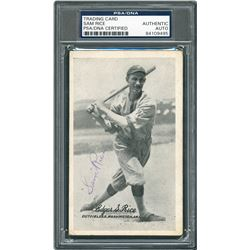 Sam Rice 1921 Signed Exhibit Card - PSA/DNA