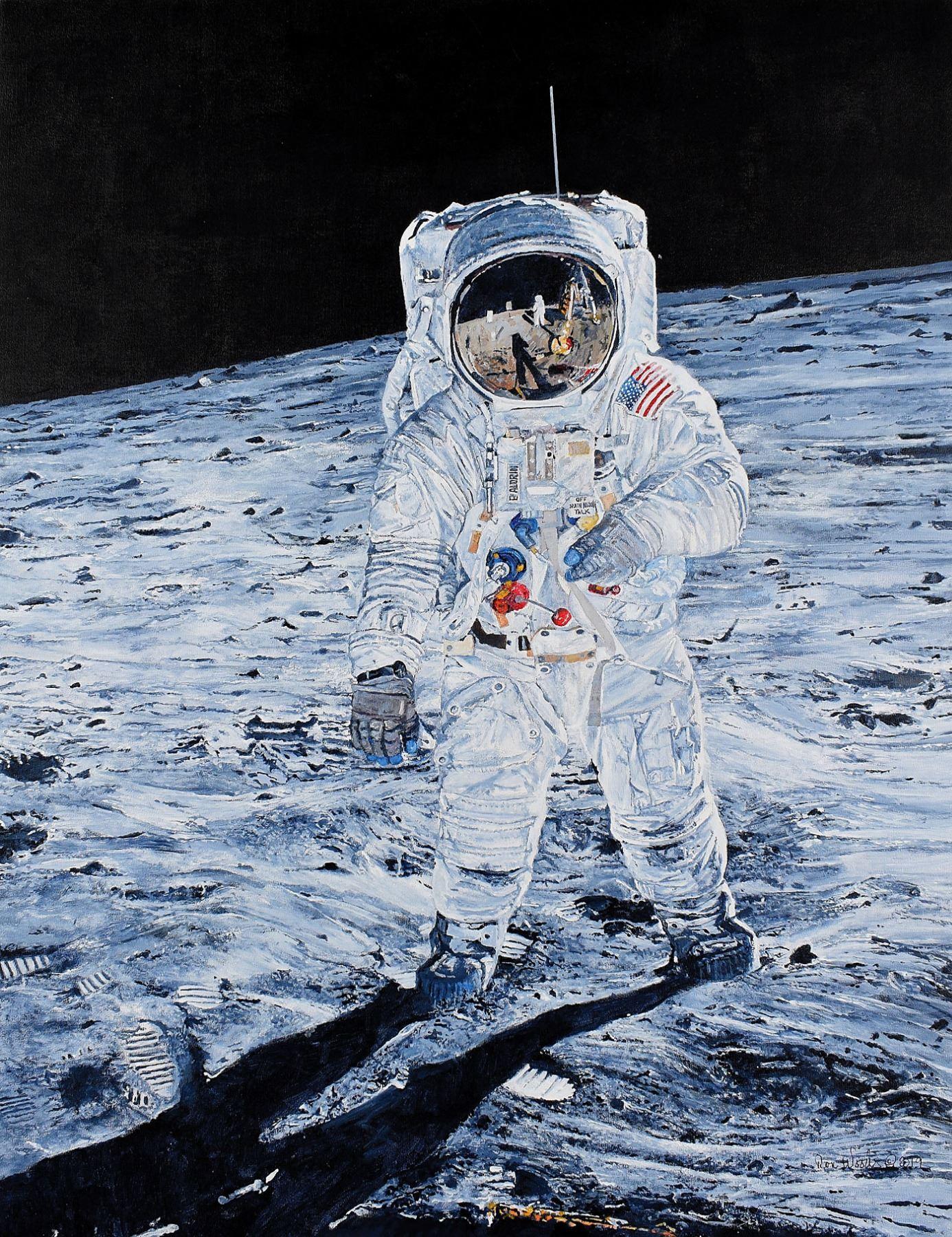 """as11-40-5903 Apollo 11 """"Buzz"""" Aldrin Moon LM leg Neil Armstrong in Visor photo"""