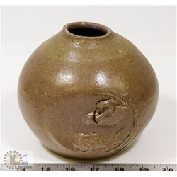57) SIGNED JANO ART POT BROWN GLAZE,