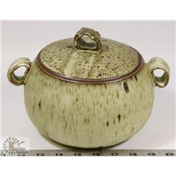 78) JANO LETTS CERAMIC POT WITH LID WHITE GLAZE