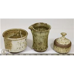 77) LOT OF 3 JANO LETTS ART CERAMICS INCL POT WITH