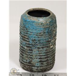 "71) BLUE GAZE POT UNSIGNED, 5""X3""."